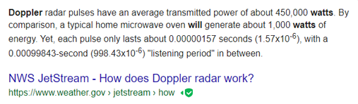 How many watts are used by Doppler?