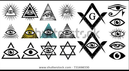 Different examples of all seeing eye symbols