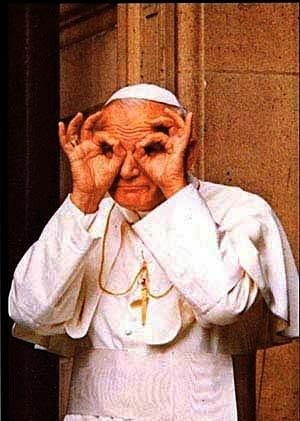 Pope doing the 666 symbol and the all seing eye