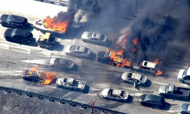 Cars burning