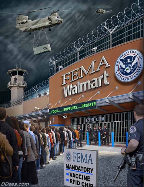 Image result for fema walmart camps