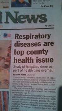 Thumbnail of paper article that says Respiratory diseases are top county health issue