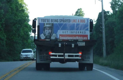 Sign on back of truck